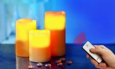 LED Echtwachs- Kerzen, verschiedene Größen LED- Kerzen 3er Set mit Fernbedienung