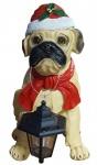 Dekofigur Hund mit LED-Solarlampe und Weihnachtsmütze Weihnachtsfigur 42 cm NEU