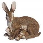 Dekofigur Hasenmutter mit Kindern Gartendeko Kaninchen Hase Feldhase Osterhase