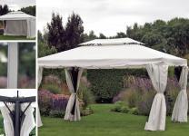 Pavillon Gartenpavillon 3x4 m beige mit Seitenteilen und Fliegengitter