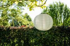 Solar Lampion weiß, Gartenlampion, Partylaterne, Ø 30 cm, Solarleuchte, Deko