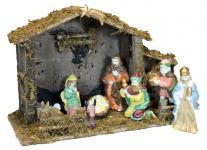 Weihnachtskrippe Holz, Krippe, Stall, Set mit Figuren Stall von Bethlehem 43x27cm