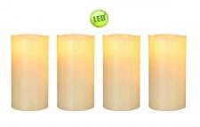 4-er Set LED Kerze Echtwachs weiß, 7, 5 cm Durchmesser, mit Luftsensor, 19, 5 cm hoch