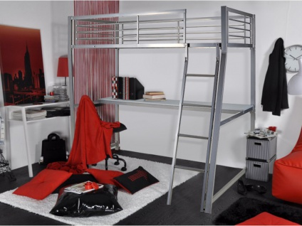 Hochbett mit Schreibtisch Malicio - 90x190cm - Silber - Vorschau 3
