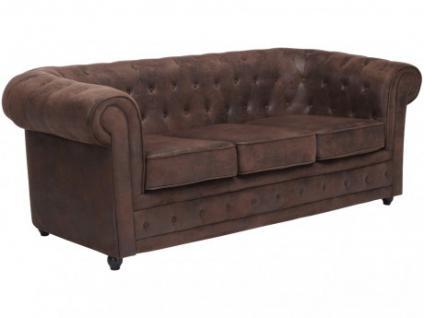 3-Sitzer-Sofa Microfaser Vintage Chesterfield Janine - Braun