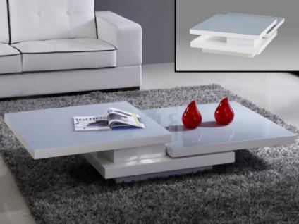 Couchtisch Hochglanz Glas Estrada - Weiß & Grau