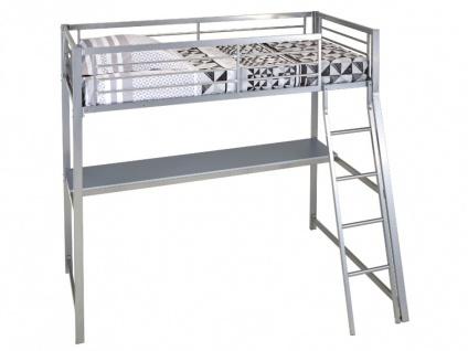 Hochbett mit Schreibtisch Malicio - 90x190cm - Silber - Vorschau 4