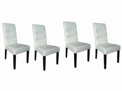 Stuhl Leder 4er-Set Holz Kiefer massiv Verdi - Weiß