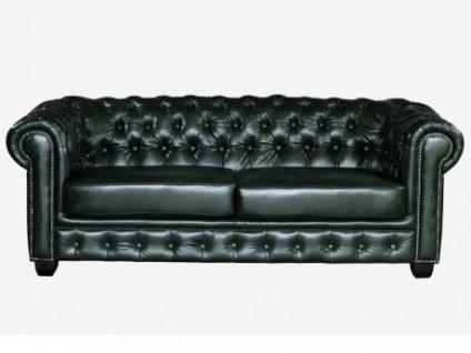 Chesterfield Ledersofa 3-Sitzer Brenton - Vintage Leder - Grün