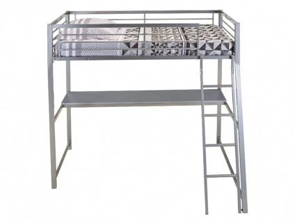 Hochbett mit Schreibtisch Malicio - 90x190cm - Silber - Vorschau 5