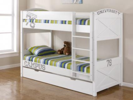 Kinderbett Hochbett Etagenbett Bettkasten Holz University - 2x 90x190cm - Weiß - mit Bettkasten