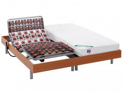 Matratzen elektrischer Lattenrost 2er-Set mit Okin-Motor HOMERA - Kirschholzfarben - 2x90x200 cm
