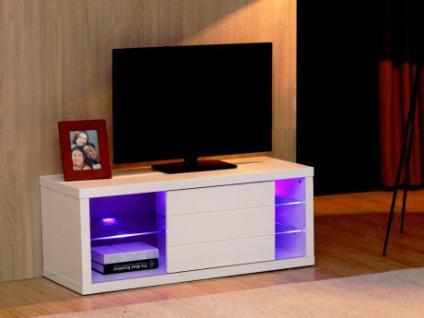 TV-Möbel Hochglanz LED Amalric - Weiß