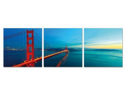 Kunstdruck Leinwand Golden Gate Bridge - Triptychon (Je 50x50cm)