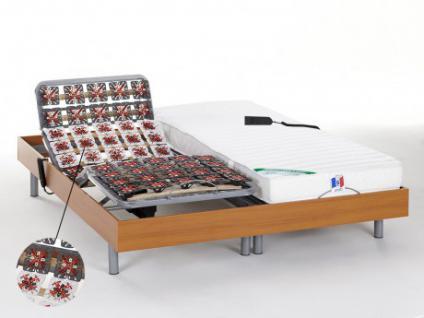 Matratzen elektrischer Lattenrost 2er-Set mit Okin-Motor HOMERA - Kirschholzfarben - 2x80x200 cm