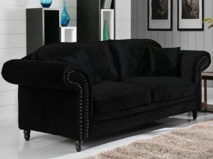 3-Sitzer-Sofa Samt Elisabeth - Schwarz