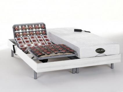 Matratzen elektrischer Lattenrost 2er-Set mit Okin-Motor Lysis III - 2x80x200cm - Weiß
