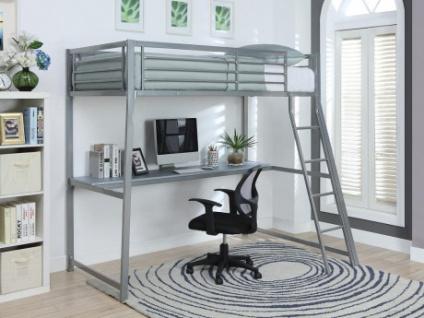 Hochbett mit Schreibtisch Malicio - 90x190cm - Silber - Vorschau 1