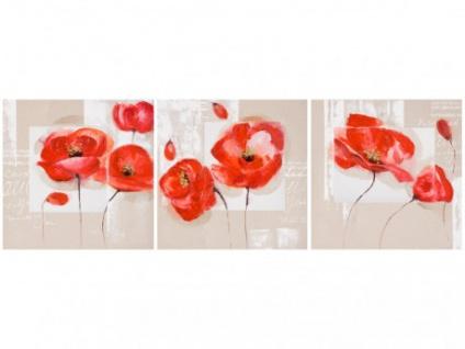 3er-Kombi Ölgemälde POPPY - Triptychon - 3x 60x60cm