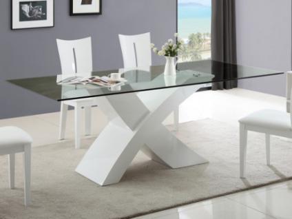 Esstisch Glas Hochglanz Hollis - Weiß