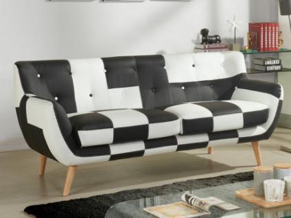 3-Sitzer-Sofa Stoff SERTI - Patchwork Schwarz/Weiß