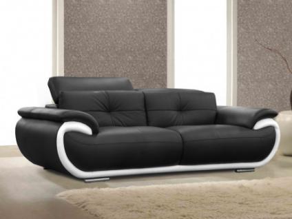 Ledersofa 3-Sitzer Smiley - Schwarz & Weiß
