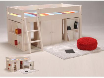 Kinderbett Hochbett Massivholz Pepito - 90x190cm - Weiß