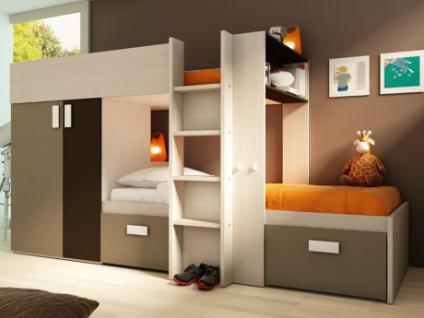 Kinderbett Hochbett Etagenbett Julien - 2x90x190cm - Weiß & Braun