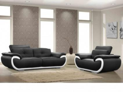 Ledergarnitur Smiley 3+1 - Schwarz & Weiß
