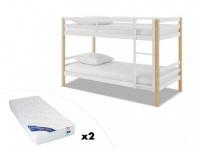 Kinderbett Hochbett Etagenbett Holz mit Matratzen PHILEMON - 2x 90x190cm