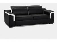 Schlafsofa Leder Express Bettfunktion mit Matratze 3-Sitzer Hippias - Standardleder - Zweifarbig: Schwarz & Weiß