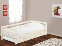 Bett mit Bettkasten Aedan - Ausziehbar - 90x190cm - Weiß