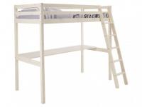 Kinderbett Hochbett Holz massiv Gedeon - 90x190cm - ohne Matratze - mit Schreibtisch