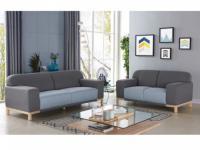 Couchgarnitur Stoff Obrian 3+2 Grau/Pastellblau