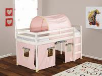 Kinderbett Hochbett Holz massiv Lilio ohne Matratze - 90x190cm - Rosa