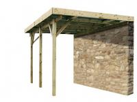 Carport Wandanbau Flachdach Holz Romana - 300x524cm (15, 72m²)