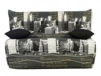 Schlafsofa Klappsofa Stoff Canyon - 140x190 cm - Motiv NY Grau