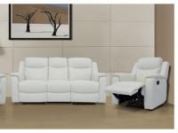 Ledergarnitur Relax Evasion 3+1 - Elfenbein-Weiß
