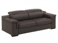 Schlafsofa Leder Express Bettfunktion mit Matratze 3-Sitzer Hippias - Luxusleder - Braun