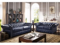 Chesterfield Ledergarnitur Clotaire 3+2 - Dunkelblau