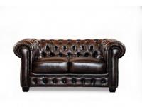 Chesterfield Ledersofa 2-Sitzer Brenton - Vintage Leder - Braun
