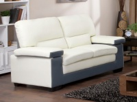 Ledersofa 2-Sitzer Mimas - Zweifarbig: Elfenbein & Grau