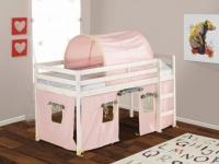 Kinderbett Halbhochbett Holz massiv Lilio - 90x190cm - Rosa