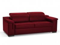 Schlafsofa Leder Express Bettfunktion mit Matratze 3-Sitzer Hippias - Standardleder - Rot