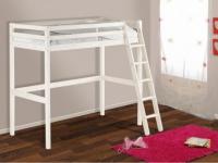 Kinderbett Hochbett Holz massiv Gedeon - 90x190cm - Weiß