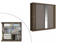 Kleiderschrank Adalrik mit Spiegel - 2 Schiebetüren - Braun & Taupe