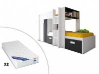 Sparset Julien: Etagenbett in 2x90x190 inkl. 2 Matratzen - Schwarz & Weiß