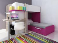 Kinderbett Hochbett Samuel inkl.Schreibtisch - 2x 90x190cm - Rosa