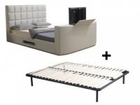 Polsterbett mit TV-Lift PROFUSION + Lattenrost - 160x200cm - Weiß