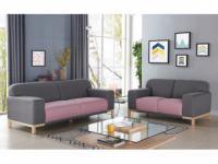 Couchgarnitur Stoff Obrian 3+2 Grau/Pastellrosa